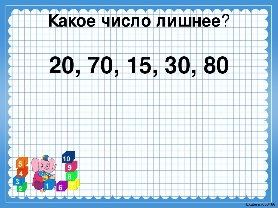 Какое число лишнее? 20, 70, 15, 30, 80 Ekaterina050466