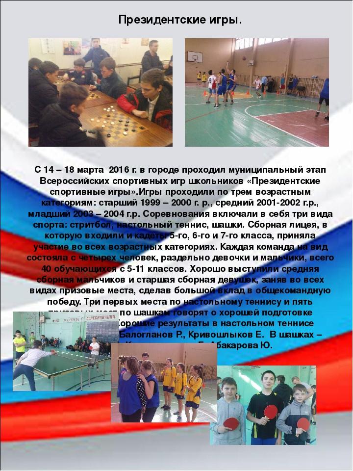 С 14 – 18 марта 2016 г. в городе проходил муниципальный этап Всероссийских сп...