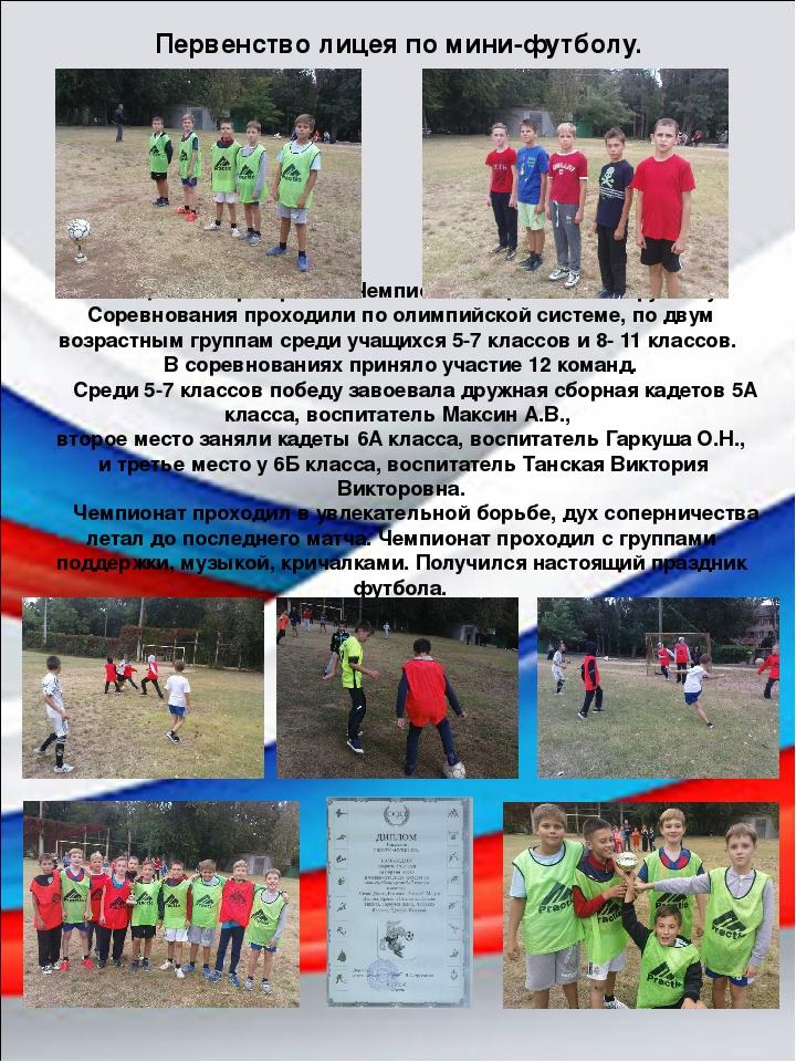 В конце сентября прошел Чемпионат лицея по мини-футболу. Соревнования проходи...