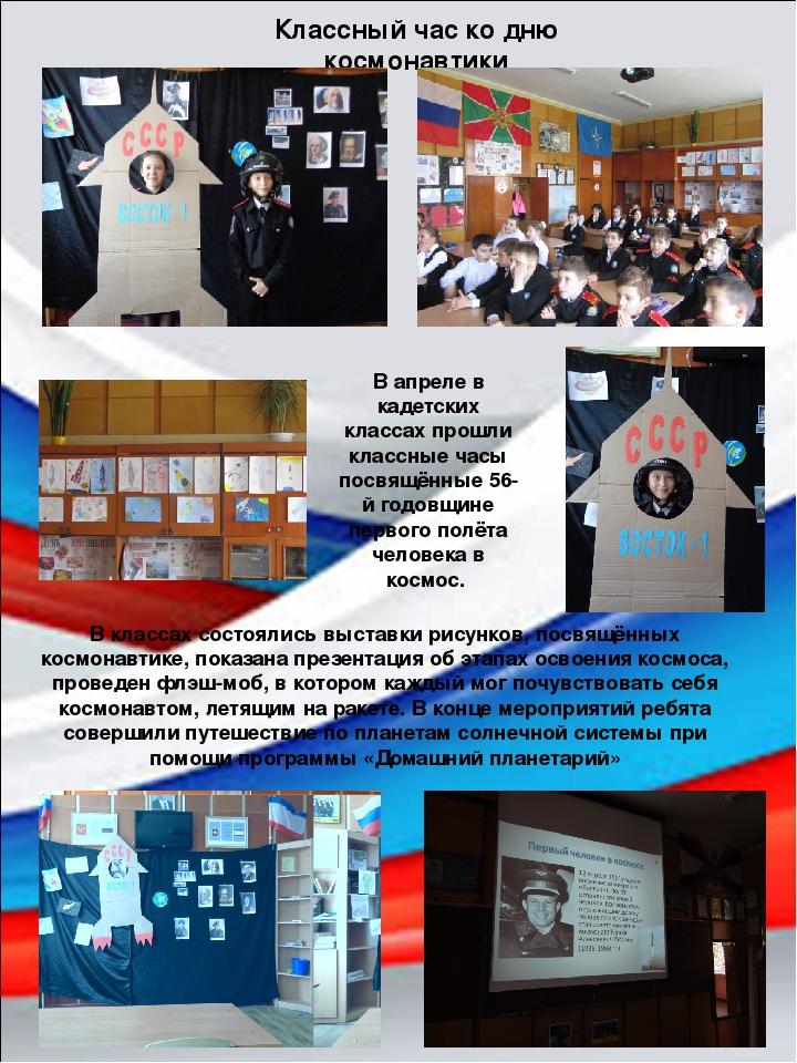Классный час ко дню космонавтики В классах состоялись выставки рисунков, посв...
