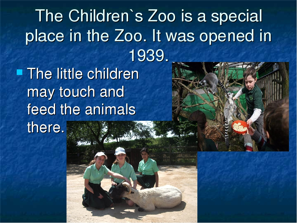 The Children`s Zoo is a special place in the Zoo. It was opened in 1939. The...