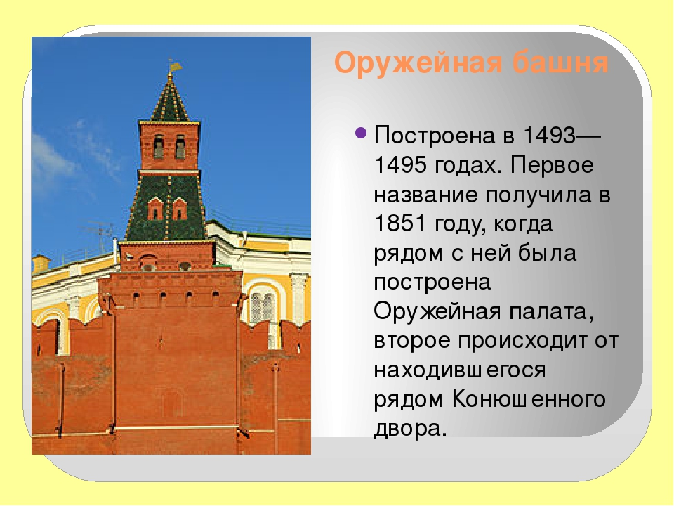 Оружейная башня Построена в 1493—1495 годах. Первое название получила в 1851...