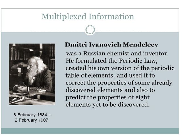 a biography of dmitri mendeleev a russian chemist and inventor Dmitri mendeleev was bornon 8 february 1834 in tobolsk, russian, is inventor of periodic table dmitri mendeleev was a russian chemist net worth 2018 is.