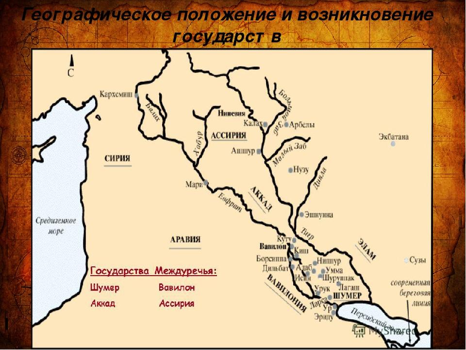 Географическое положение и возникновение государств