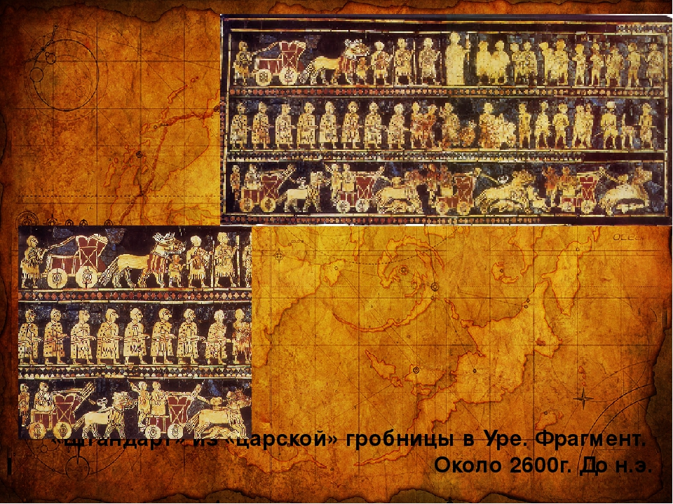 «Штандарт» из «царской» гробницы в Уре. Фрагмент. Около 2600г. До н.э.
