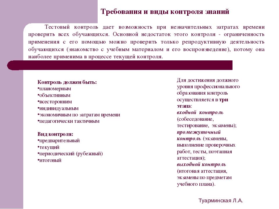 Туарминская Л.А. Требования и виды контроля знаний Контроль должен быть: план...