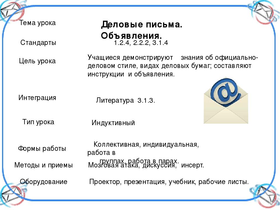 Тема урока Деловые письма. Объявления. Стандарты 1.2.4, 2.2.2, 3.1.4 Цель уро...