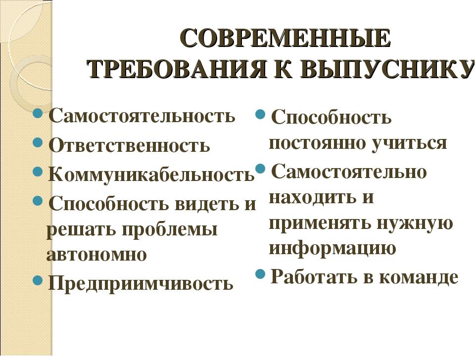 СОВРЕМЕННЫЕ ТРЕБОВАНИЯ К ВЫПУСНИКУ Самостоятельность Ответственность Коммуни...
