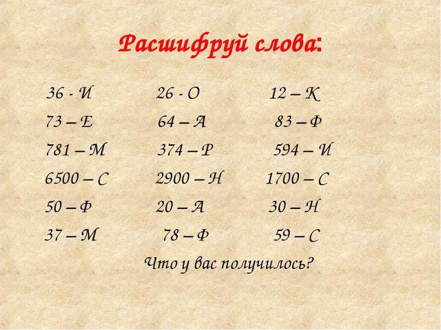 Расшифруй слова: 36 - И 26 - О 12 – К 73 – Е 64 – А 83 – Ф 781 – М 374 – Р 59...