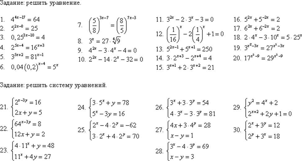 системы показательных уравнений и неравенств Новый