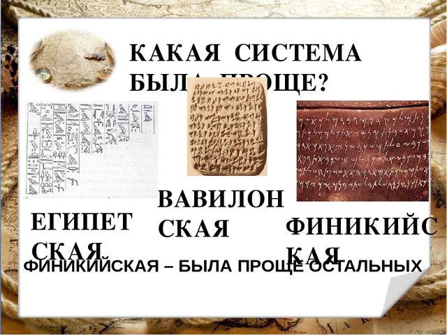 КАКАЯ СИСТЕМА БЫЛА ПРОЩЕ? ЕГИПЕТСКАЯ ВАВИЛОНСКАЯ ФИНИКИЙСКАЯ ФИНИКИЙСКАЯ – БЫ...