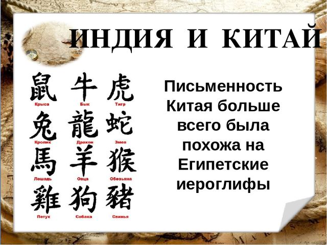ИНДИЯ И КИТАЙ Письменность Китая больше всего была похожа на Египетские иерог...