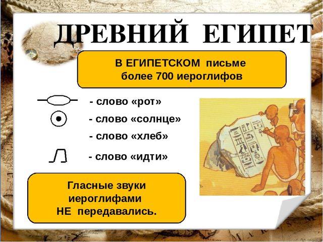 ДРЕВНИЙ ЕГИПЕТ В ЕГИПЕТСКОМ письме более 700 иероглифов Гласные звуки иерогли...