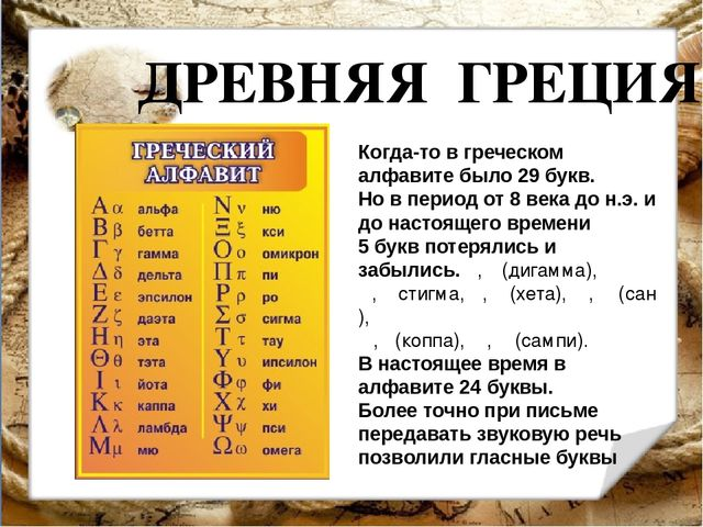 ДРЕВНЯЯ ГРЕЦИЯ Когда-то в греческом алфавите было 29 букв. Но в период от 8 в...