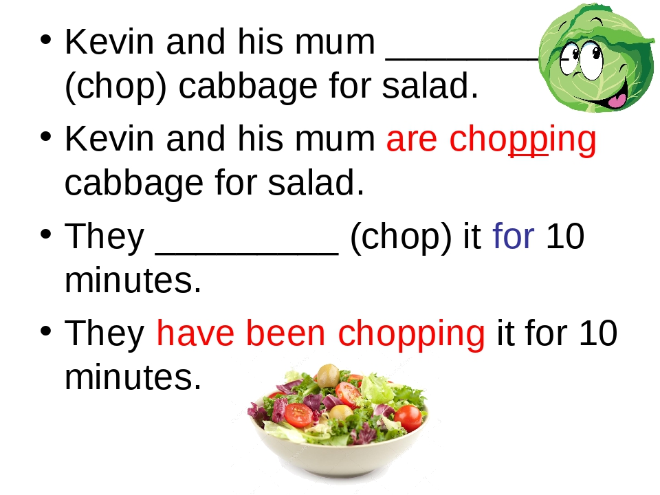 Kevin and his mum _________ (chop) cabbage for salad. Kevin and his mum are c...