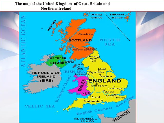 The map of the United Kingdom of Great Britain and Northern Ireland England...