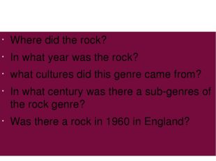 Where did the rock? In what year was the rock? what cultures did this genre