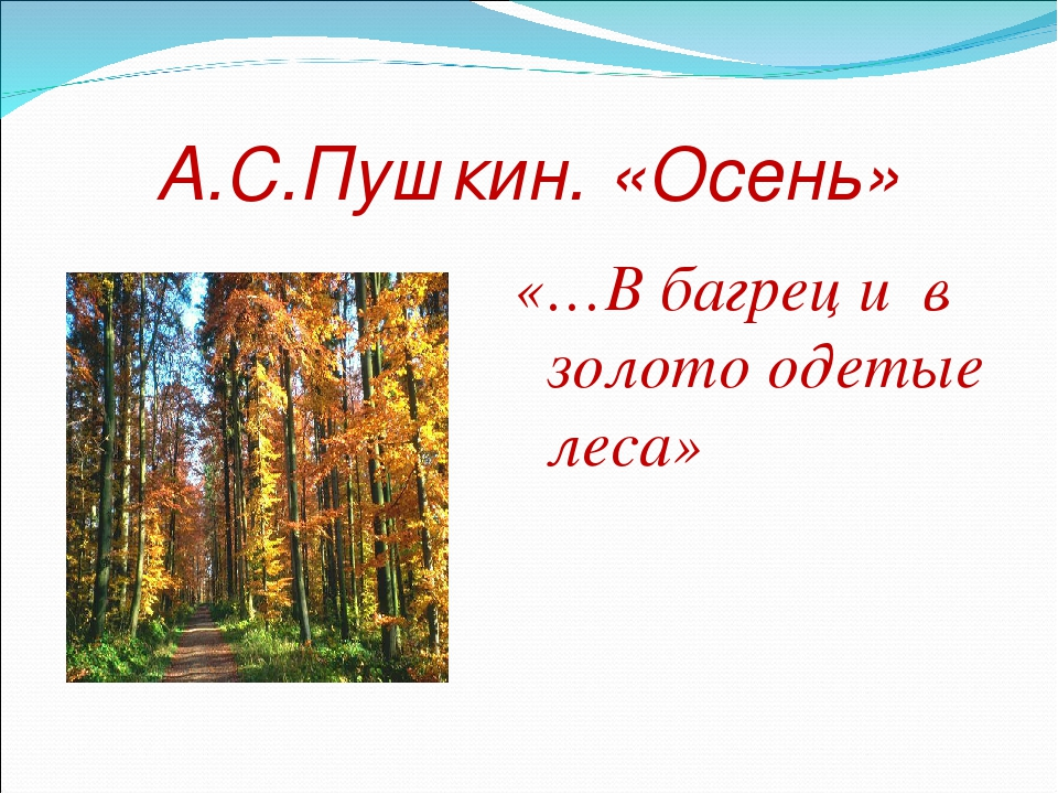 А.С.Пушкин. «Осень» «…В багрец и в золото одетые леса»