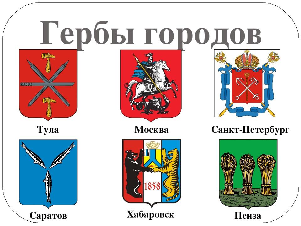 Картинки и названия гербов городов