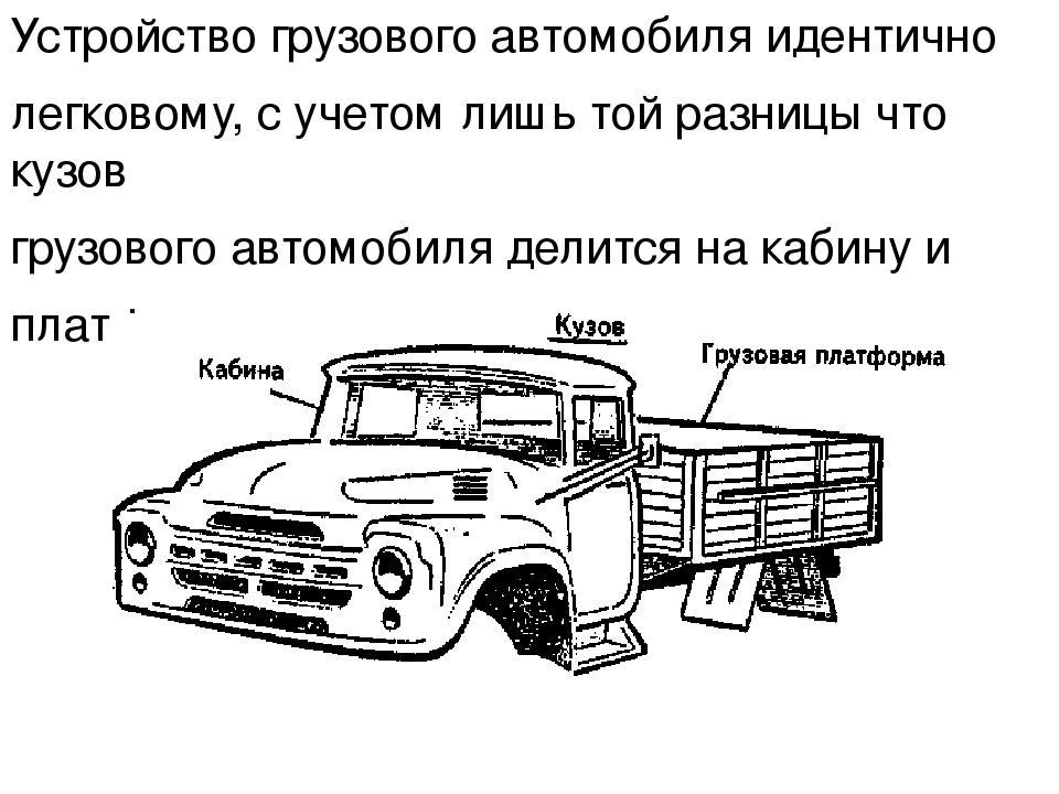 Устройство грузового автомобиля идентично легковому, с учетом лишь той разниц...