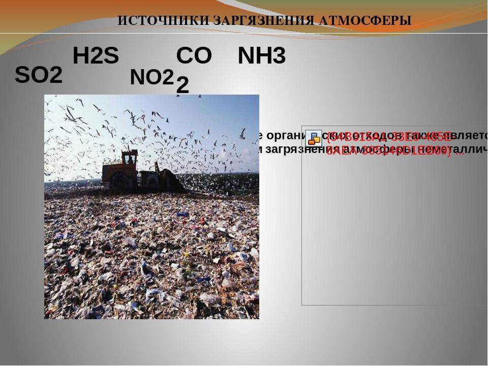 H2S SO2 CO2 NO2 ИСТОЧНИКИ ЗАРГЯЗНЕНИЯ АТМОСФЕРЫ NH3