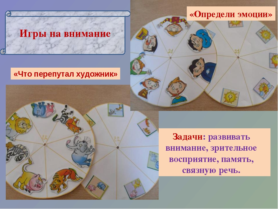 Игры на внимание Задачи: развивать внимание, зрительное восприятие, память, с...