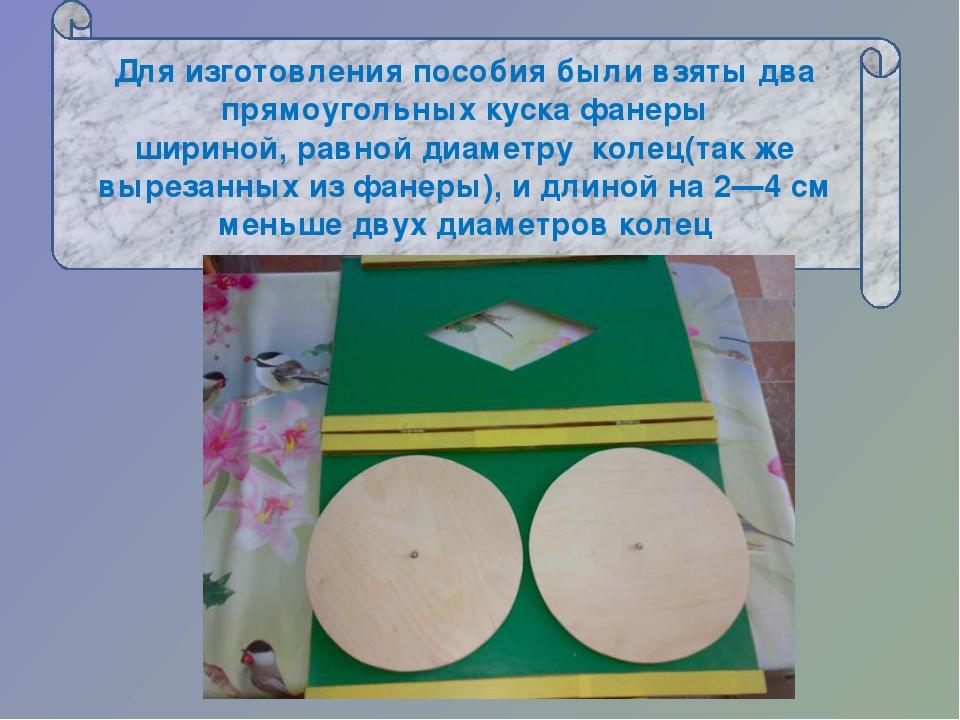 Для изготовления пособия были взяты два прямоугольных куска фанеры шириной,...
