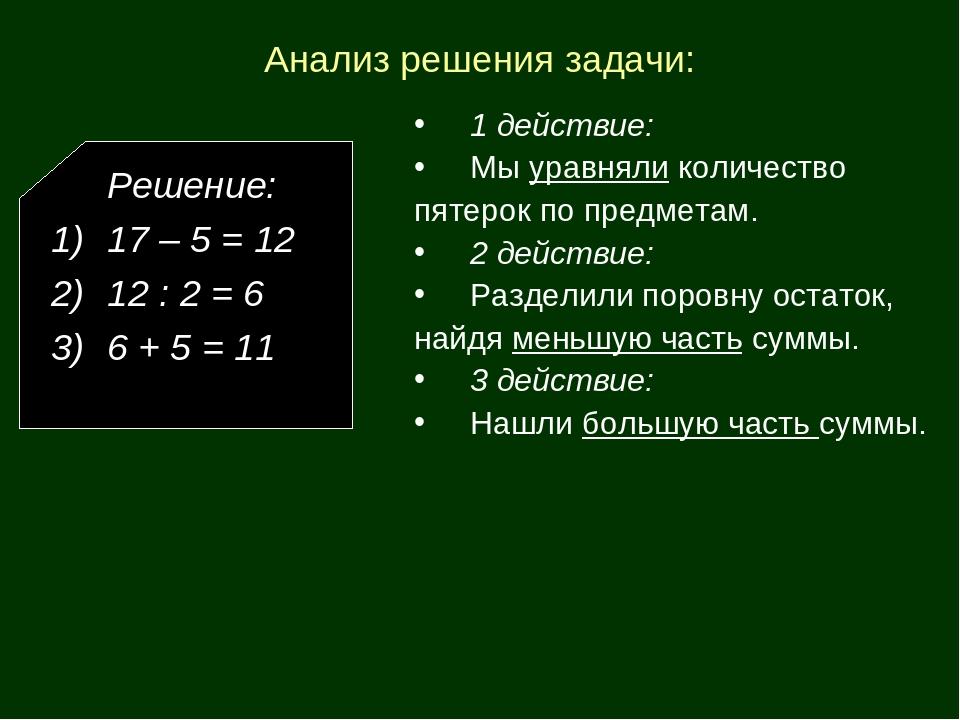 Решение задачи с пятерками база решение задач по применению