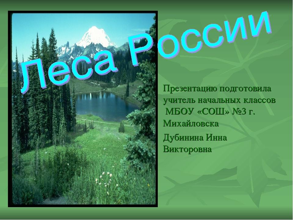 Презентацию подготовила учитель начальных классов МБОУ «СОШ» №3 г. Михайловс...