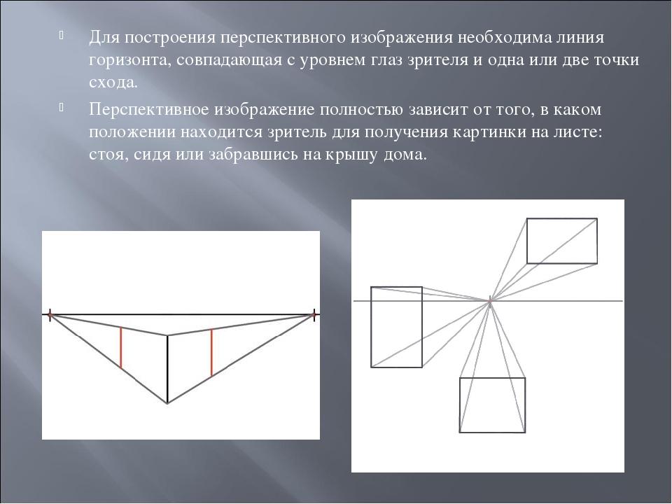 Для построения перспективного изображения необходима линия горизонта, совпада...