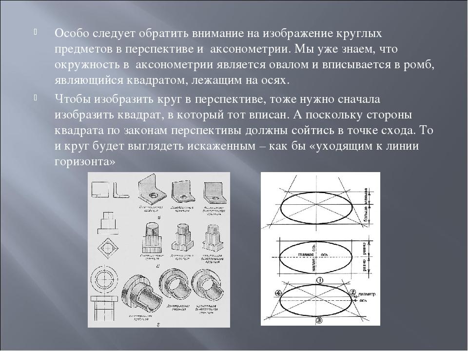 Особо следует обратить внимание на изображение круглых предметов в перспектив...