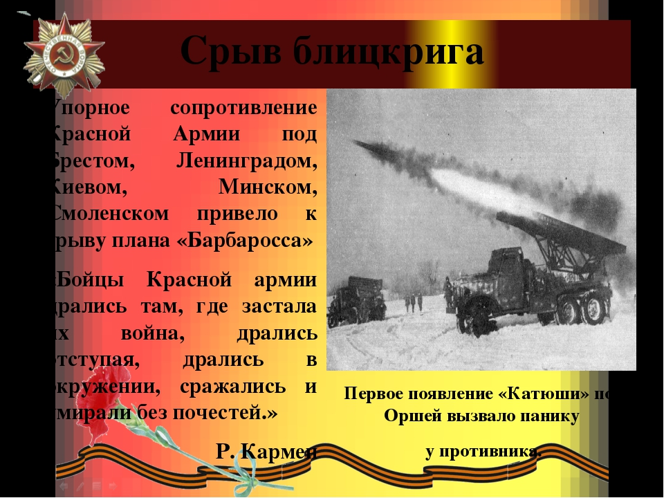 Срыв блицкрига Упорное сопротивление Красной Армии под Брестом, Ленинградом,...