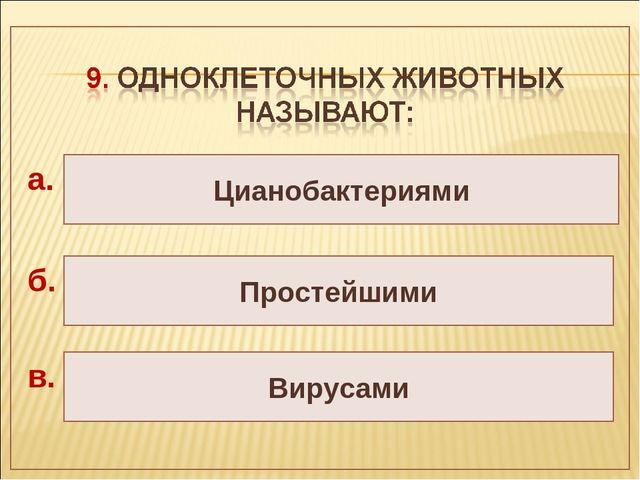 Цианобактериями Простейшими Вирусами а. б. в.
