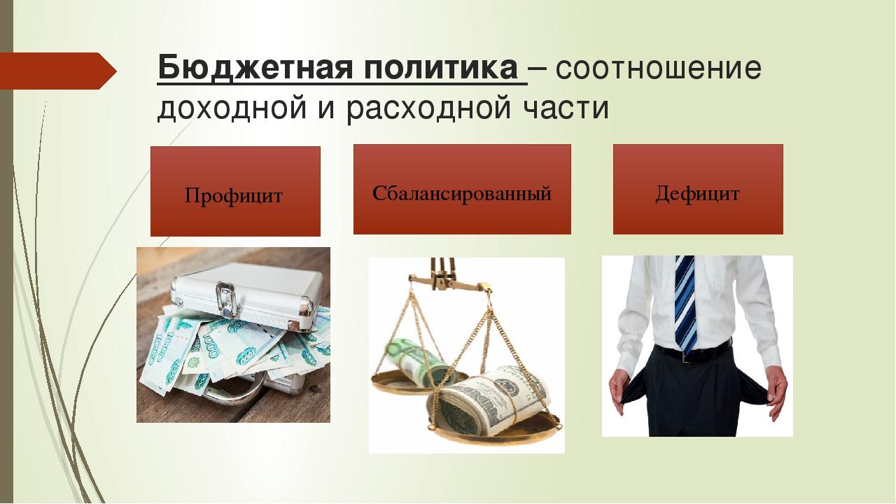 Бюджетная политика – соотношение доходной и расходной части Сбалансированный...