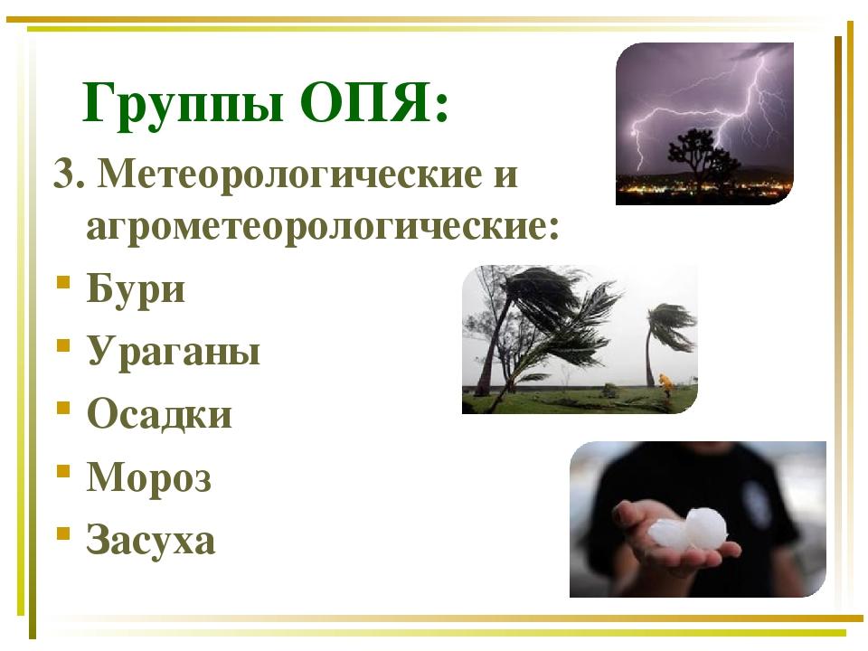 Группы ОПЯ: 3. Метеорологические и агрометеорологические: Бури Ураганы Осадк...