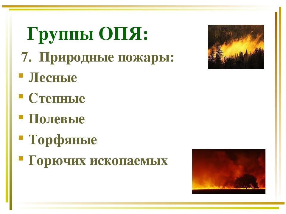 Группы ОПЯ: 7. Природные пожары: Лесные Степные Полевые Торфяные Горючих иск...