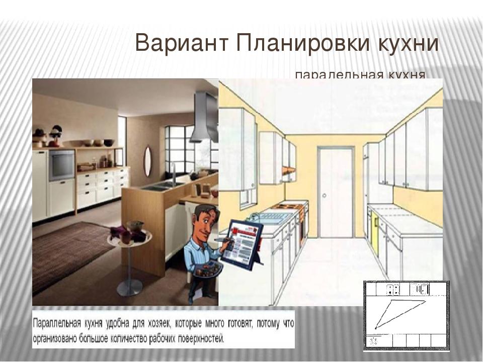 Вариант Планировки кухни паралельная кухня