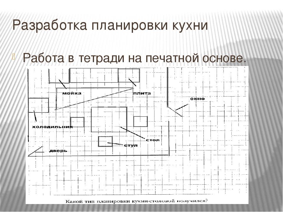 Разработка планировки кухни Работа в тетради на печатной основе.