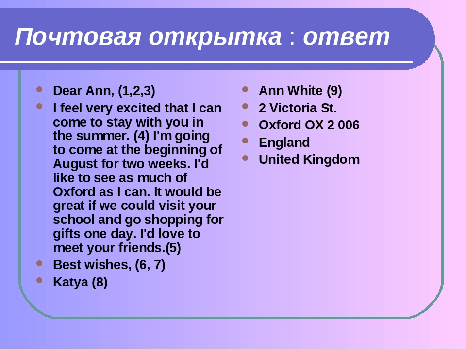 Примеры открыток на английском языке с переводом