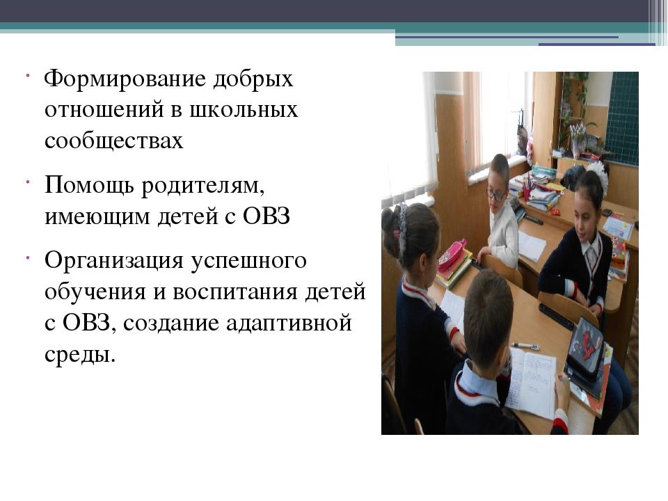 Формирование добрых отношений в школьных сообществах Помощь родителям, имеющ...