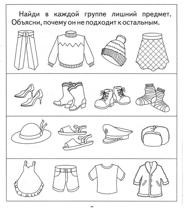 Развивающие картинки одежды