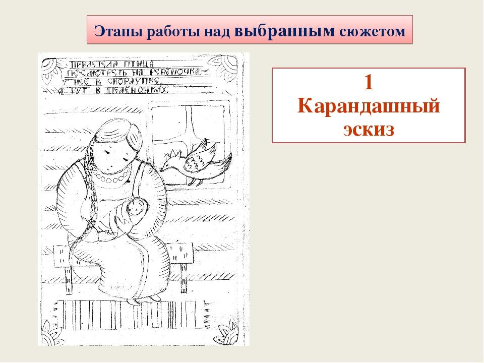 Этапы работы над выбранным сюжетом 1 Карандашный эскиз