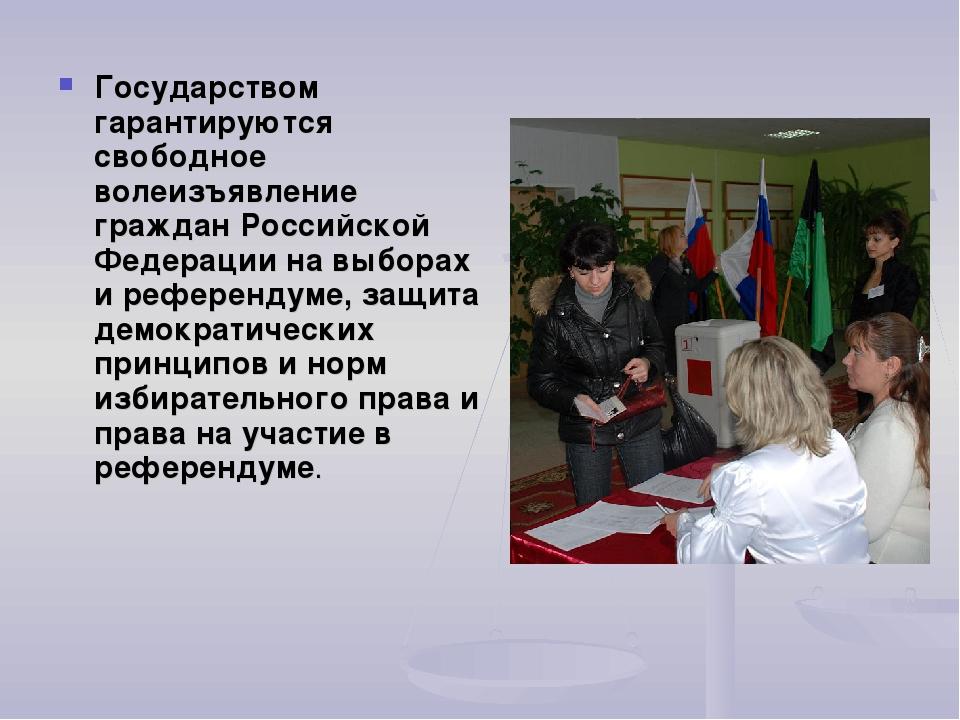 Государством гарантируются свободное волеизъявление граждан Российской Федера...