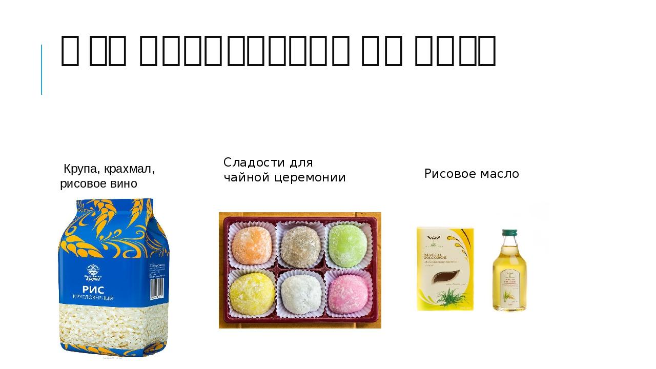 Что производят из риса Крупа, крахмал, рисовое вино Сладости для чайной цере...