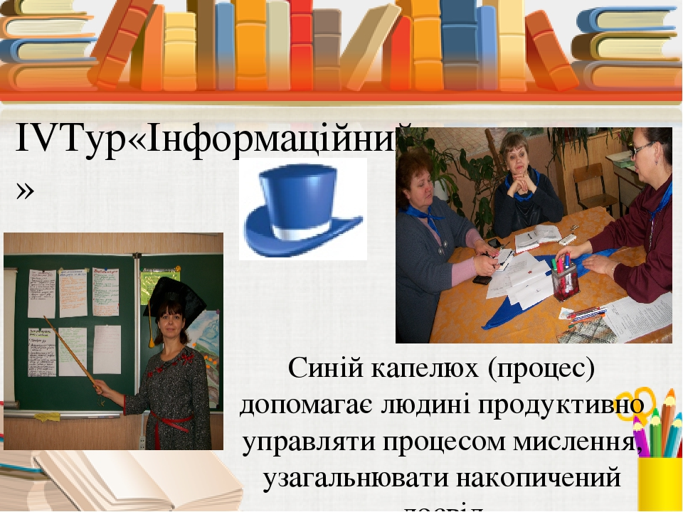 IVТур«Інформаційний» Синій капелюх (процес) допомагає людині продуктивно упра...