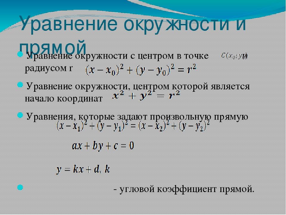 Уравнение окружности и прямой Уравнение окружности с центром в точке и радиус...