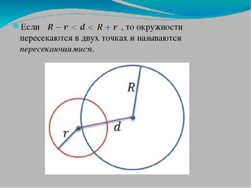 Если , то окружности пересекаются в двух точках и называются пересекающимися.