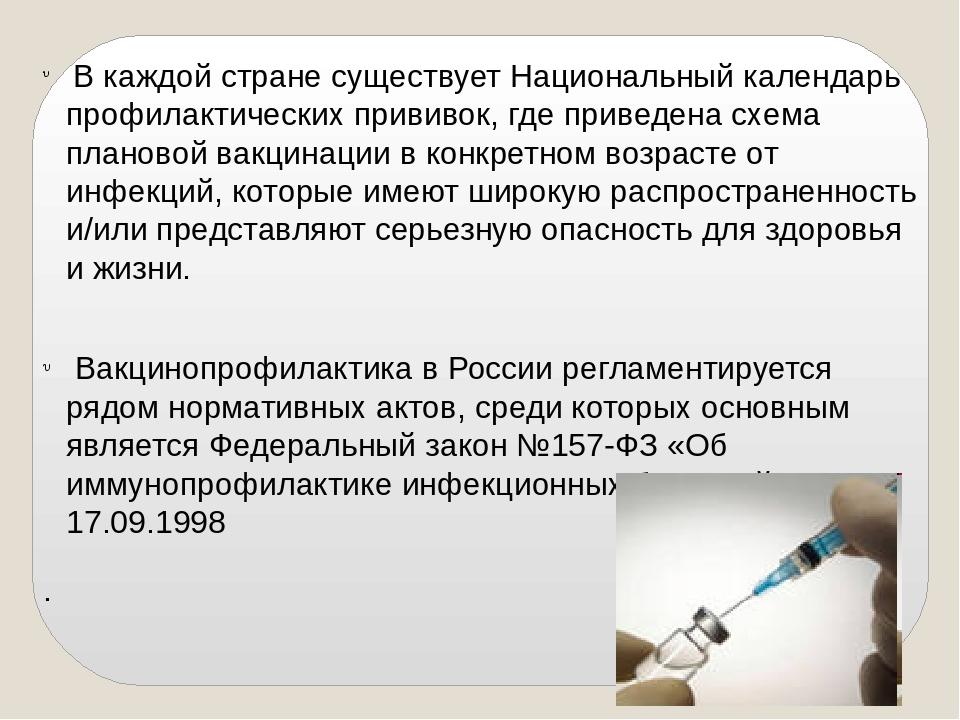 В каждой стране существует Национальный календарь профилактических прививок,...