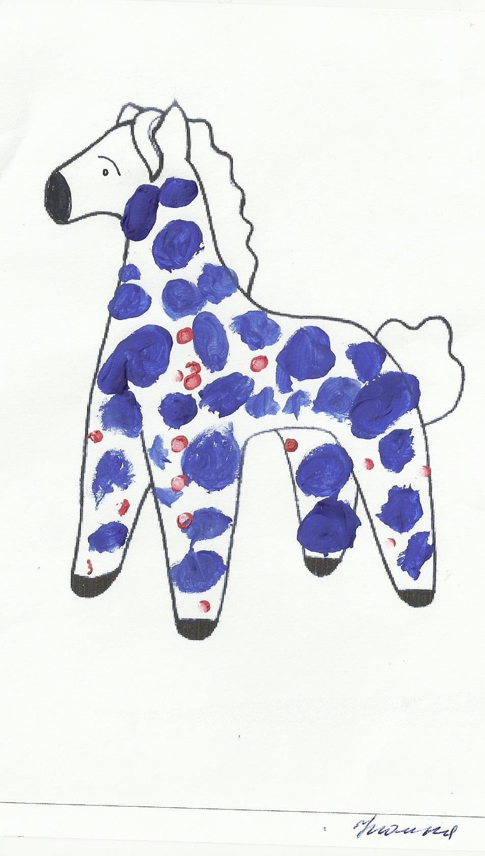 это рисунки дымковских игрушек коня около