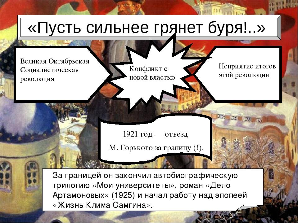 «Пусть сильнее грянет буря!..» 1921 год— отъезд M. Горького за границу (!)....